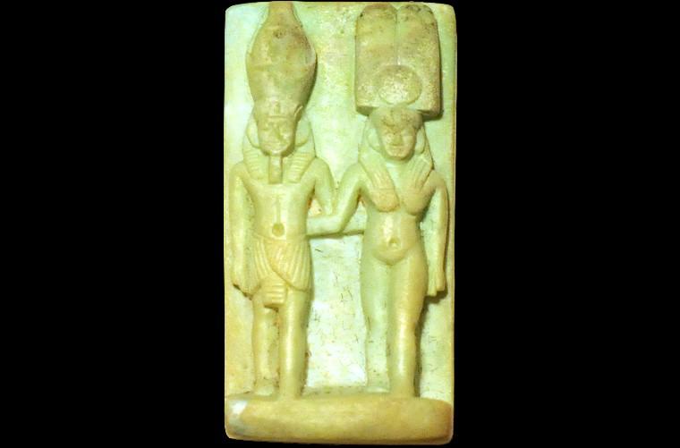 tre amulette gyptienne en fa ence vert d 39 eau basse poque le pharaon et la reine. Black Bedroom Furniture Sets. Home Design Ideas